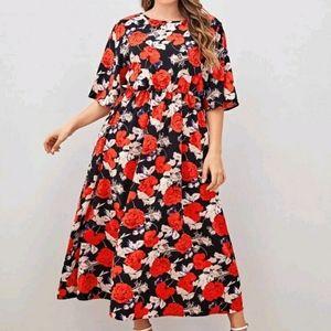 NEW Plus Floral Print A-line Dress